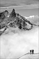 aiguille du midi (heavenuphere) Tags: bw snow france mountains alps sports nature sport clouds alpes landscape outdoors outdoor extreme adventure climbing alpine chamonix montblanc massif aiguilledumidi hautesavoie rhnealpes chamonixmontblanc tlphriquedelaiguilledumidi
