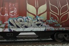 Dewy (A & P Bench) Tags: red canada train bench graffiti steel grain canadian national graff hopper railfan freight rolling burners rollingstock fr8 benching