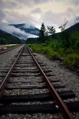 Train Into the Clouds (Lanamaniac) Tags: trip travel summer usa fog clouds america travels nikon traintracks tracks newengland newhampshire august whitemountains nh nikkor mountans 2011 d90 kangamangushighway nikond90 lanamaniac