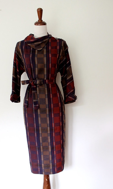 Mod Plaid Belted Shift Dress, vintage 60s