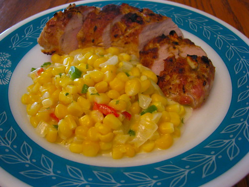 Cumin and Lime Roasted Pork Tenderloin with Spicy Creamed Corn