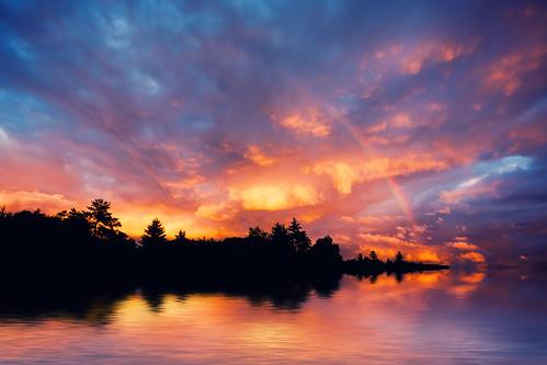 フリー写真素材, 自然・風景, 川・河川, 夕日・夕焼け・日没, 虹, デンマーク,