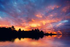[フリー画像] 自然・風景, 川・河川, 夕日・夕焼け・日没, 虹, デンマーク, 201109121900