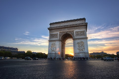 Arc de Triomphe (TheFella) Tags: sunset sky sun paris france slr monument clouds digital photoshop canon de french eos photo high europe ledefrance place dynamic dusk champs arc triomphe charles landmark explore photograph processing 5d gaulle dslr range frontpage arcdetriomphe hdr highdynamicrange neoclassicism lyses markii champslyses postprocessing rpubliquefranaise placecharlesdegaulle photomatix frenchrepublic rgionparisienne explored parisregion explorefrontpage thefella 5dmarkii conormacneill thefellaphotography
