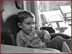 In Dad's Chair... (Mike Goldberg) Tags: family monochrome children jerusalem eyal mikegoldberg panasonicg1
