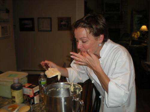 Chef Diane testing vanilla cake batter