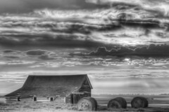 Abandoned Barn (Gar40y On A Break) Tags: sky clouds canon niceshot 7d blacknwhite hdr haybale photomatix canonef2470f28lbarn garyandersonphotography minotndphotographer minotphotographers northdakotaphotographer northdakotanaturephotographer garyandersonphotograpy minotphotographer minotnorthdakotaphotographer