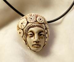 nasturtium woman (SelenaAnne) Tags: face necklace head handmade craft polymerclay bead sculpey pendant cernit