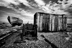 the final resting place (stocks photography) Tags: uk england blackandwhite bw abandoned beach coast boat kent seaside shingle stocks beached dungeness shack desolate winch tena wellworthavisit amazingplaces downonthebeach stocksphotography thefinalrestingplace dungenessindecay