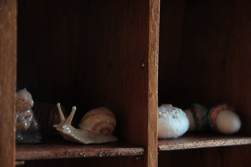 squirrel, snail, stone & acorn