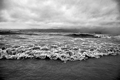 On a cloudy day... (_) Tags: sea monochrome clouds waves ships monsoon nikkor bangladesh chittagong nikond90