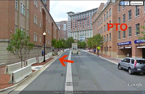 USPTO on right, federal courthouse across street on left (via Google Earth)