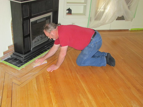 Day Three began with Bernie and I giving the floor another quick sanding ...
