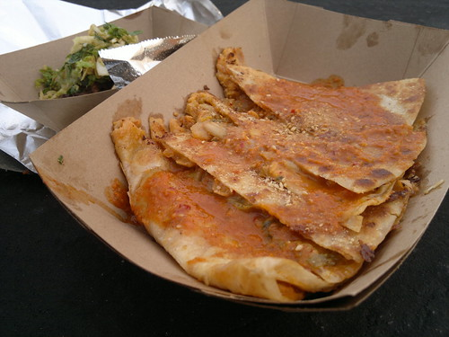 From front: Kogi Kimchi Quesadillas and Short Rib Taco