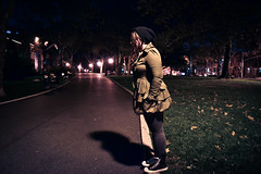 (Ryan Rosa) Tags: road park nyc shadow brooklyn night dark hair grey lights model shoes style falling jacket converse ledge pocket beanie sunsetpark leaning laces lean