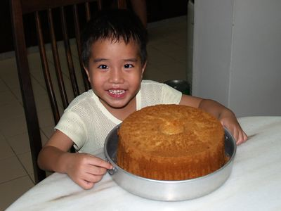 Julian with chiffon cake