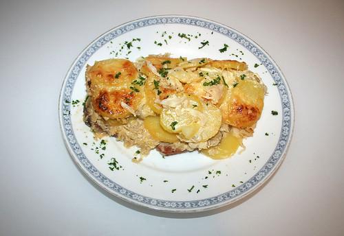 23 - Leberkäse-Sauerkraut-Auflauf mit Kartoffeln - Fertiges Gericht