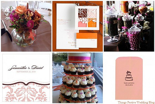 Pink Orange and Brown Wedding Floral centerpiece floraldesignsbyinezcom
