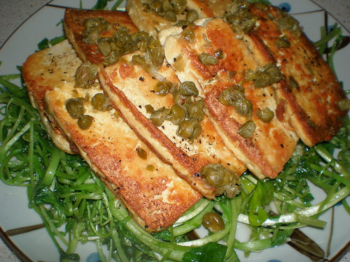Pan-Fried Tofu and Watercress with Lemon-Caper Sauce