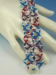 Blue Hearts Tatted Bracelet (ambrosianbeads) Tags: blue red white bracelet multicolor needletatting ambrosianbeads