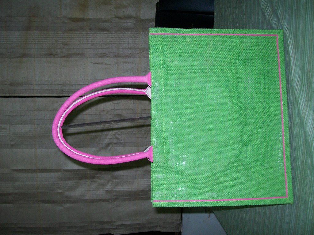 Laminated Dyed Jute Fabric Carry Bag 24 - Front