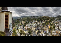 A view from the Rock (Wim Koopman) Tags: road street city autumn sky house color colour clock church rock clouds canon germany deutschland photography photo cityscape stock kirche atmosphere powershot duitsland stockphoto s90 felsen rheinlandpfalz stockphotography s100 churchclock hunsrck idaroberstein felsenkirche wpk s95
