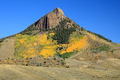 Distant Aspens   _27W0243a (DennisKirkland) Tags: fall colors landscape scenic peak sage greens aspens rockymountains yellows hillside steep