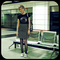 MRT Station (am-y) Tags: urban black stockings girl fashion socks female train subway asian grey outfit singapore chairs femme gray chinese style tshirt skirt seats fishnets form mrtstation streetfashion canvasshoes whitepumasneakers