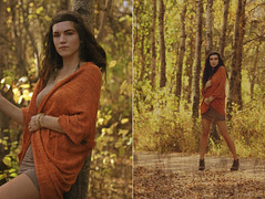 Autumn (neva yuzik) Tags: autumn orange tree fall leaves weather forest sweater outdoor buttons saskatoon saskatchewan boho lakeview bohemian coverup frakas laurisa