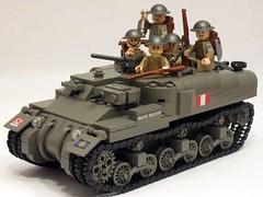 "Canadian Ram Kangaroo APC & infantry (with finalized new front slope). (""Rumrunner"") Tags: world 2 infantry army war lego brodie wwii helmet canadian 2nd ii kangaroo ww2 ww apc ram carrier worldwar2 brigade allies personnel armoured brickarms m1919"