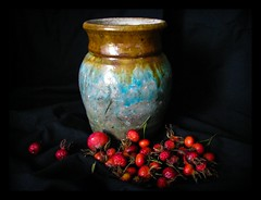 Hand Thrown Raku Pot & Wild Rosehips (1bluecanoe) Tags: color ceramic naturallight textures pot glaze dried rosehips raku handthrown 1bluecanoe