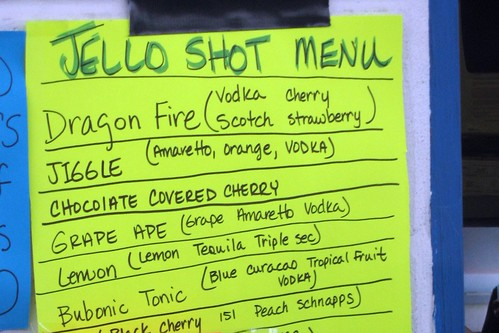 Jello Shot menu, Shreveport, Louisiana