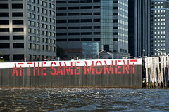 "Lawrence Weiner's ""At The Same Moment"" art installation at Ferry Pier in Manhattan (jackie weisberg) Tags: nyc newyorkcity usa newyork art water sign america buildings river skyscrapers unitedstates manhattan rivers signage eastriver newyorkstate northeast nys artinstallation lawrenceweiner ferrypier atthesamemoment jackieweisberg boroughofnewyork"