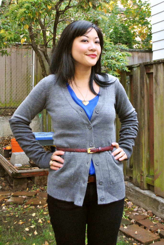 Fall Outfit - Gray Cardigan - Snakeskin Skinny Belt - Royal Blue Top - diy arm warmers