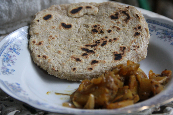 Coconut Roti and Curry - Sri Lanka