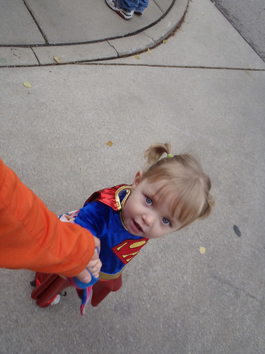 Taking Lilah trick-or-treating at Market Square