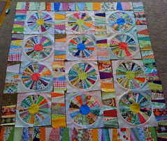 Scrappy Circle quilt...getting closer to finishing!!! (Julie Antinucci) Tags: circles polkadots fabric scrap scrappy paperpieced foundationpieced designerfabric circlequilt pieceofcakedesigns curvedquilts completelydottypattern