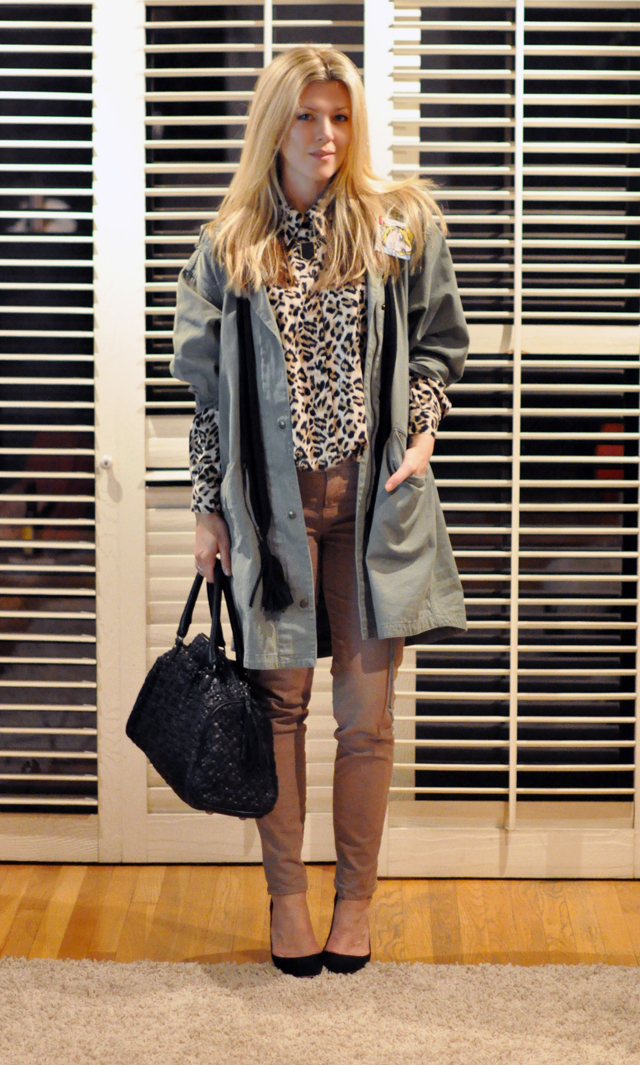 j brand city jeans-leopard blouse-army green jacket-black heels and bag, fashion blog, hair