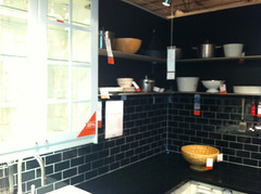 Ikea Kitchen Vignette with Black Subway Tile Backsplash