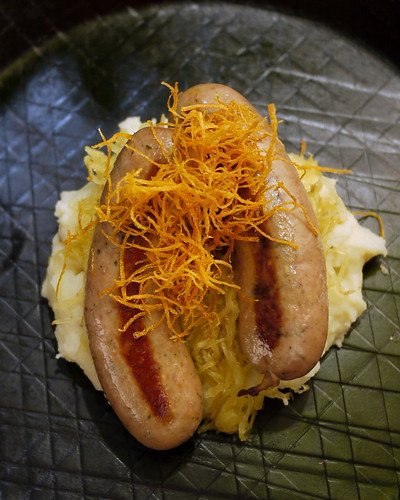 Bangers and mash: Crispy sweet potato, Cambridge sausage, smoked spaghetti squash, mustard mash