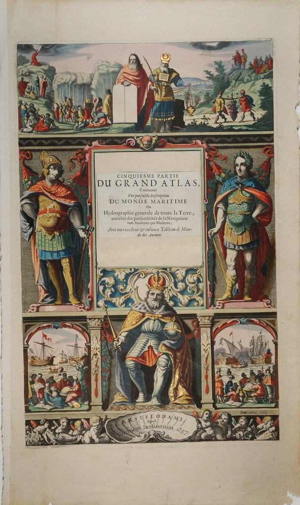titlepage of atlas with colonial, royal and nautical motifs