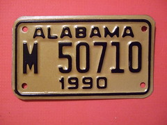 ALABAMA 1990 ---MOTORCYCLE PLATE #M 50710