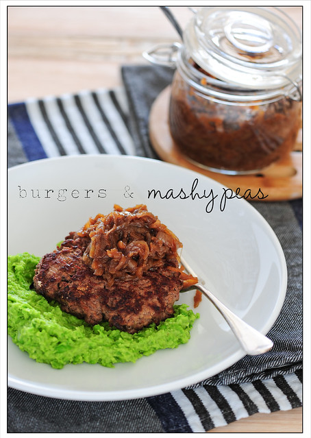 burgers with mashy peas