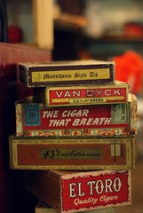 I like the boxes much more than the cigars (lydiafairy) Tags: old vintage colorful bokeh box antique cigar stack cigarbox 527 vintagecigarbox