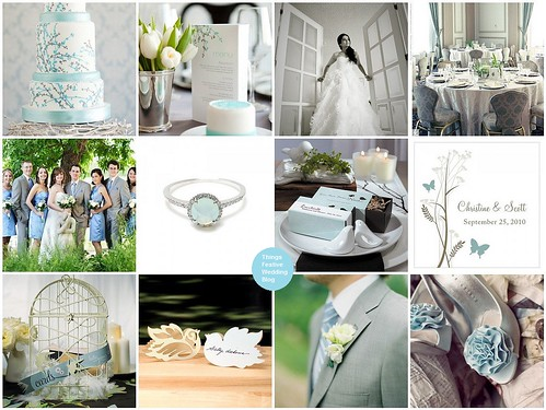 Love Bird Spring Wedding Theme in Powder Blue and Grey