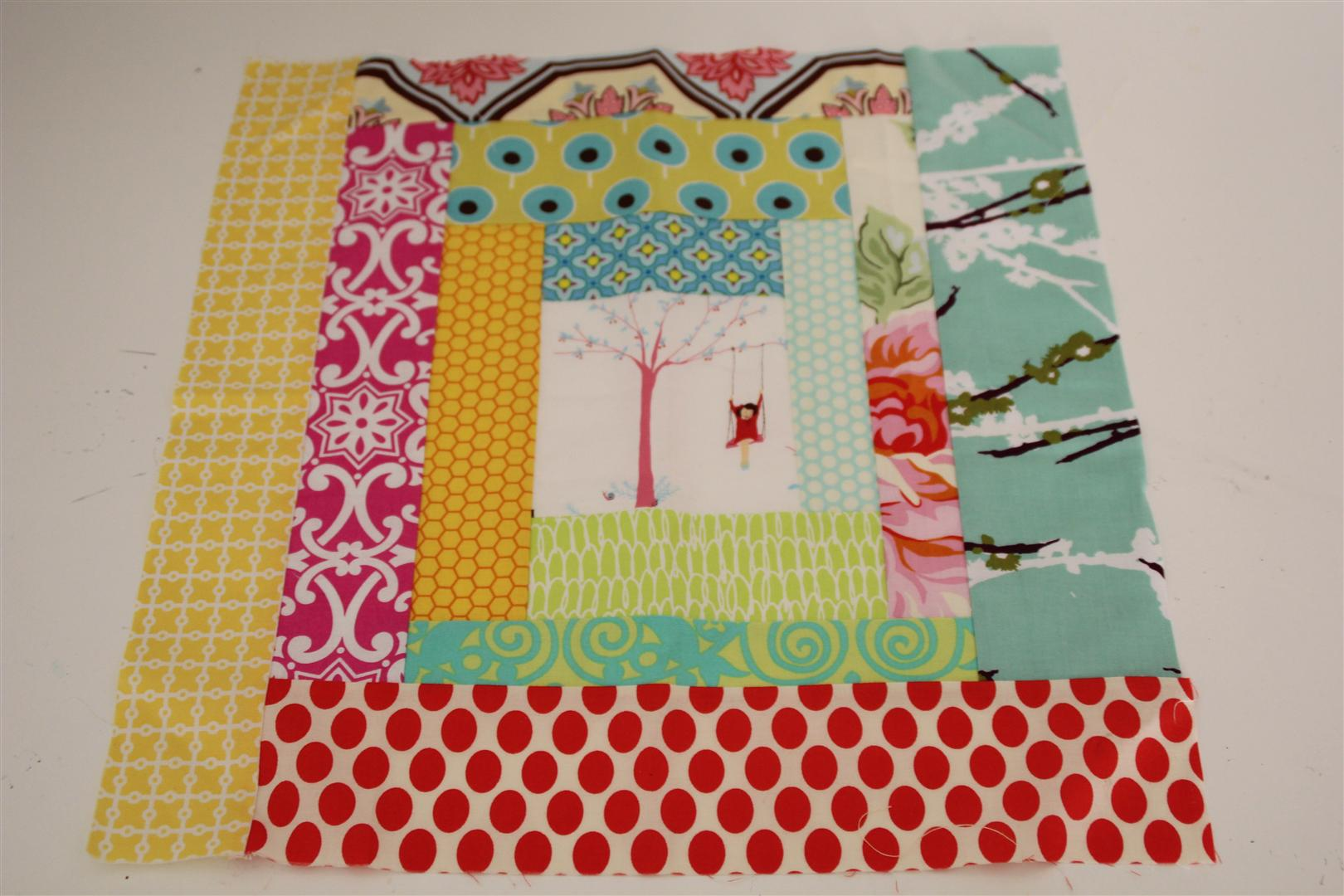 Scrappy block for cheeky quilt