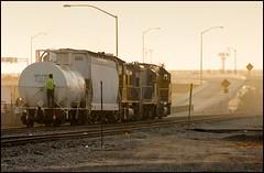 LOA32 About To Take the Euclid Off-ramp (greenthumb_38) Tags: railroad morning train earlymorning trains unionpacific locomotive anaheim sled gp switcher wye emd gp151 canon40d westanaheim jeffreybass loa32 costamesajob remotesled anheimwye loa25 loa32r