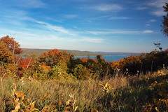 View from the Dune Climb and Sleeping Bear Dunes National Shoreline (The Trey) Tags: camping fall beach engagement sand october hiking michigan bluesky lakemichigan foliage shesaidyes 2011 gettingengaged gisteq phototrackr amyandtrey sleepingbeardunesnattionallakeshore