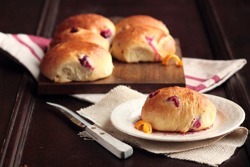 Cranberry Orange Brioche Rolls