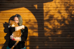 (evilibby) Tags: wood shadow orange girl cat garden shadows shed human bracelet libby 365 gingercat greenhair 365days 3654 barnabee 365days4